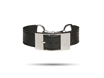 Silver Bite Leather Bracelet