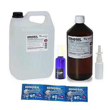 Paketpris Kolloidalt silver 1x5L + 1x1L + sprayflaska glas + nässprayflaska - FRI FRAKT