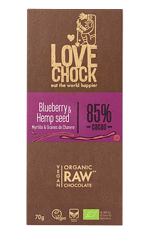 Raw Chok Blueberry & Hemp Seeds 70g x8, EKO