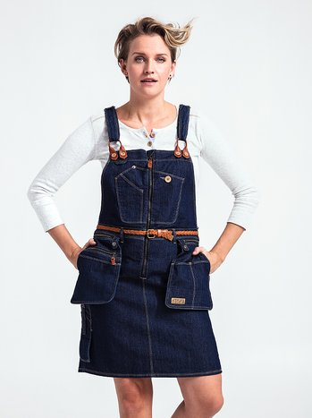 Flora Worker Bib Dress - carpenter dress