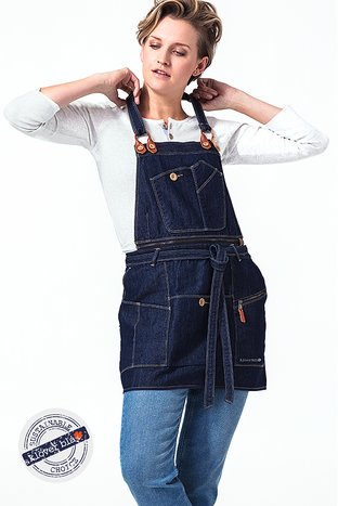 Drew denim bib apron - snickarförkläde