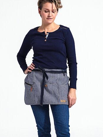 Blårandigt höftförkläde - Flora Hip apron - blue stripe