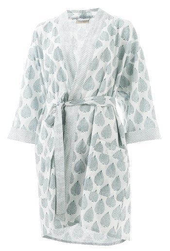 Short kimono with Leaf print | Blue
