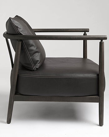 Armchair, HUMBLE, Pierre Sindre,  Wood Brown /  Leather brown