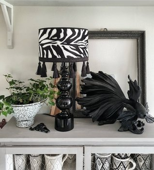 Lampskärm  25 - Tofs Zebra/Svart