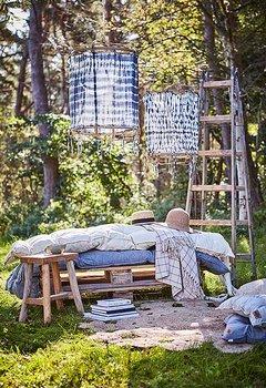 Lampskärm Bambu/Tyg - Svart Batik