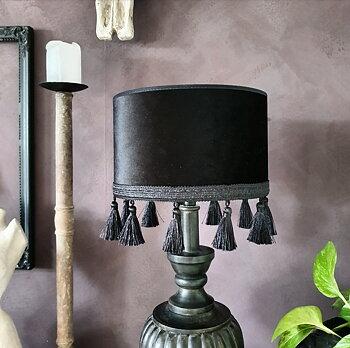 Lampskärm Sammet  25 - Tofs Svart