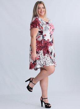 Vippig viskosklänning med kort volangärm, vit/rödmönster