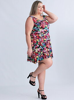Ärmlös swingklänning, multifärgad
