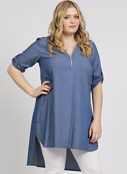 Skjorta i lång modell med dragkedja, jeansblå