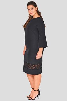 Svart knälång klänning med spetspanel