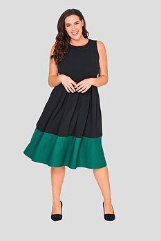 Vippig ärmlös blockfärgad klänning, svart/grön