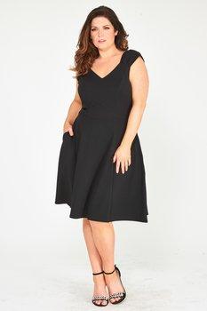 Vippig klänning med rosett, svart
