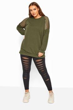 Sweatshirt med fisknät i ärmar, khakigrön