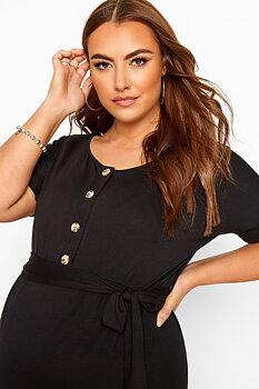 Klänning med omlottkjol och knappar, svart