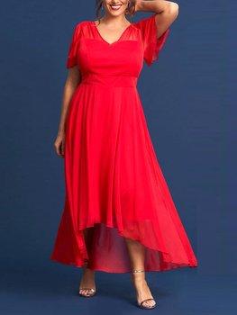 Klänning i chiffong med släp, röd
