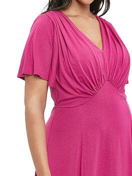 Klänning  i swingmodell med draperad detaljer, starkrosa