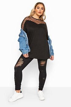 Tunika med meshtyg och prickar, svart