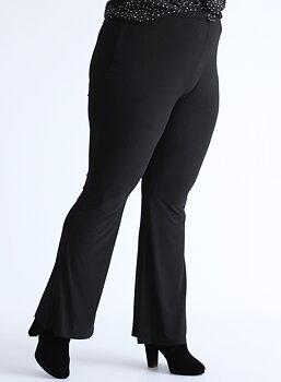 Byxa med resårmidja i bootcutmodell, svart