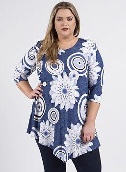Tunika med asymmetrisk nederkant, blå med vita blommor