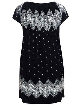 Klänning med resårringning, svartvit