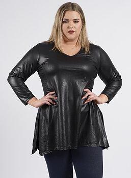 Tunika i läderlook i smickrande swingmodell, svart