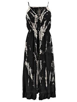 Långklänning med inbyggda shorts, svart/batikmönster