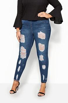 Jeans med resårmidja och extremt slitna detaljer, indigoblå