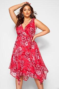 Exklusiv asymmetrisk chiffongklänning, rosa/rödblommig