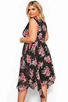Exklusiv asymmetrisk chiffongklänning, svart/blommig