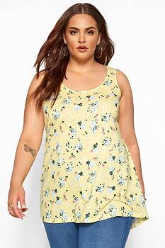 Linne med breda axelband i swingmodell, gulblommig