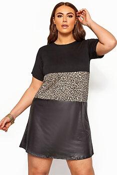 Blockfärgad t-shirtklänning, svart/leopard