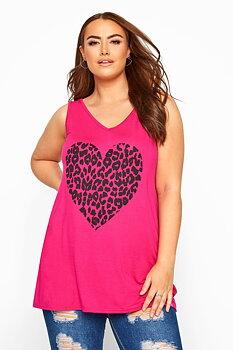 Linne med korsade band i rygg, rosa leopard
