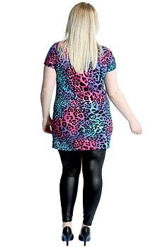 Topp med korta ärmar, färgglad leopard