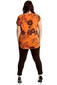 Topp med kort ärm, blommig/orange