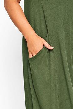 Ärmlös swingklänning med fickor, khaki
