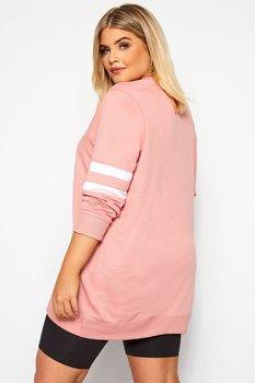 Sweatshirt med ränder, ljusrosa