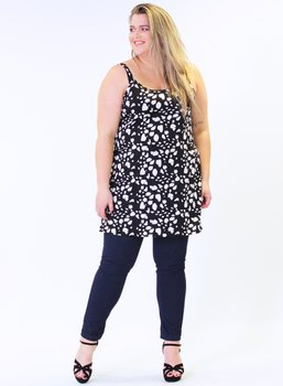 Klänning med smala axelband, svartvit