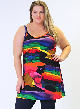 Klänning med smala axelband, regnbåge