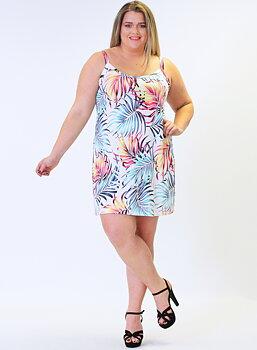 Klänning med smala axelband, multifärgad