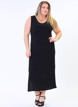 Långklänning med breda axelband, svart
