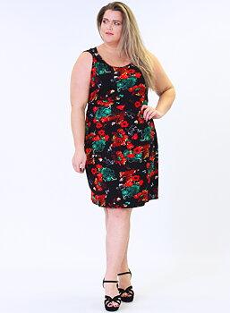 Knälång viskosklänning med ringdetalj i axelband, rödmönster