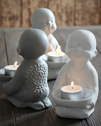 Buddha for tealight Vit Maja Cottage