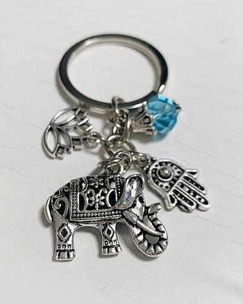 Nyckelring Liten Fatimas hand Elephant power Blå Silver