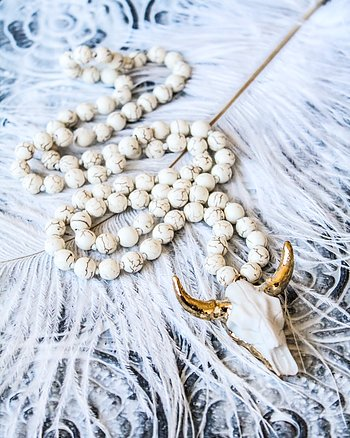 Necklace - agate horn Boho Bohemian