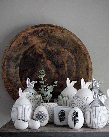 Skål Happy Rabbit Vit Silver Maja Cottage