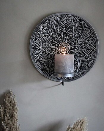 Väggljustake Mandala Rund Aniksilver Majacottage