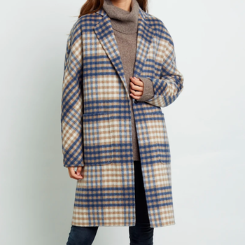 RAILS Everest Coat - BEIGE BLUE PLAID