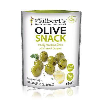 Mr Filbert's urkärnade Gröna oliver med Citron & Oregano, 65 g