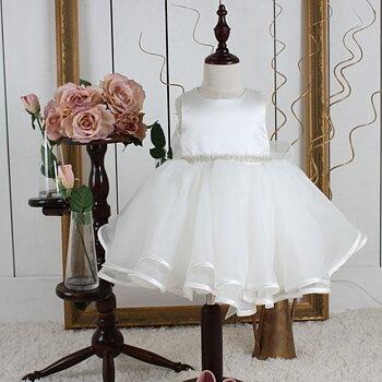 Ivory Prinsessklänning med organzakjol i och pärlbälte